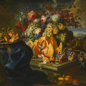 An_Elaborate_Still_Life_of_Fruit_and_Flowers_by_Maximilian_Pfeiler