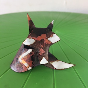 copper fox with white enamel