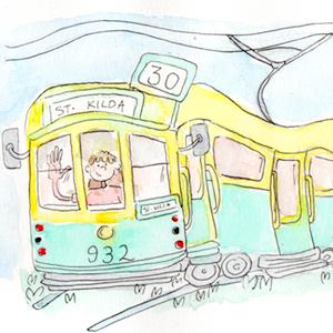 cartoon of a girl riding a tram