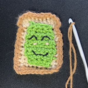 Smashed avocado toast in crochet