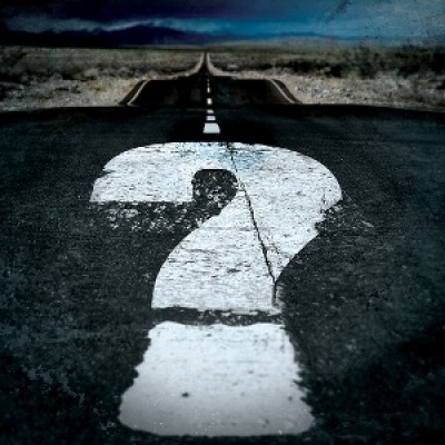 A question mark in the road